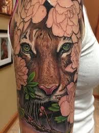 max egy tiger floral half sleeve in progress