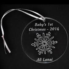 personalized acrylic ornament with engraved snowflake design