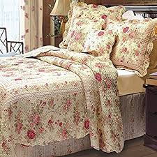 Shabby Chic Bed Skirts by Amazon Com Chic Shabby Romantic Rose Bedding Quilt Set Queen