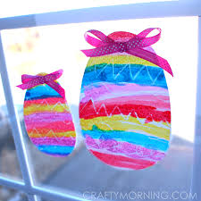 Easter Decorations For Classroom Door by Crayon Resist Easter Egg Window Decorations Crafty Morning