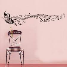 decorative music butterfly wall stickers wall art decal butterfly wall sticker with music notes