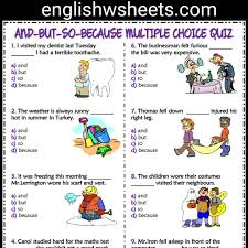 and but so because esl printable multiple choice quiz for kids