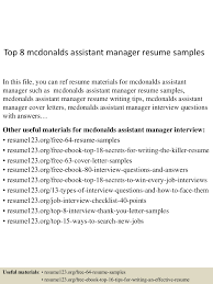 Assistant Manager Resume Sample by Top8mcdonaldsassistantmanagerresumesamples 150517042903 Lva1 App6891 Thumbnail 4 Jpg Cb U003d1431836992