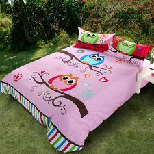 queen size bedding for girls pink and multi color kids girls nature night owl print 100 cotton