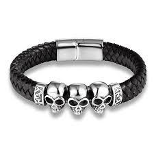 black leather skull bracelet images Black braided leather skull bracelet bracelets and rings jpg