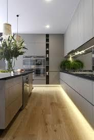 peinturer comptoir de cuisine cuisine minimaliste sol en bois meubles gris peinture îlot de
