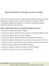 print resume print production manager resume cover letter top 8 sles 1 in
