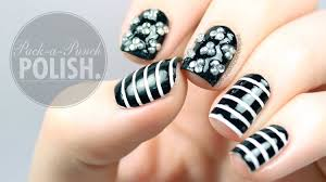 triplet studs with black and white stripes nail art tutorial