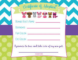 certificate adoption beanie boo birthday party