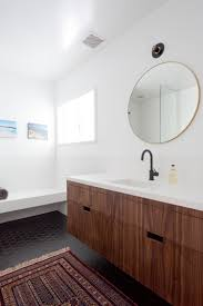 modern bathroom matte black floating vanity walnut modern