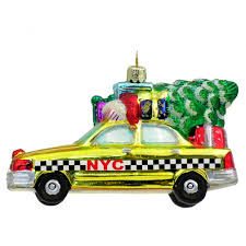 taxi with tree glass ornament