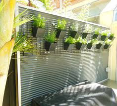 corrugated fence landscape contemporary with vertical garden