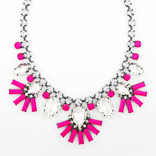 necklace with pink stone images Fanned petal necklace neon pink crystal statement necklace by jpg