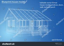 Blueprint Of House 3d Rendering House Wireframe Structure Vector Stock Vector
