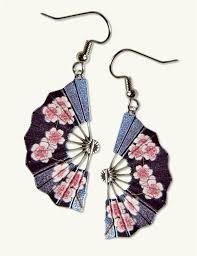 earring dangles fan dangles cherry blossom earrings