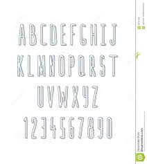 volume set of letters and numbers handmade sketch font stock