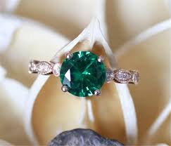 art deco emerald ring 7mm round cut man made emerald engagement