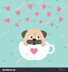 Cute Cup Designs Pug Dog Mops Paw Sitting White Stock Vector 380198284 Shutterstock