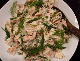 cracked pepper cold pasta salad with smoked salmon peas and