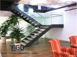 office stairs design double stringer mild steel glass railing stair staircase designs
