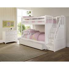 White Pine Bunk Beds Barrett Wood Bunk Bed With Trundle White