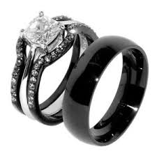 black wedding sets his hers 4 pcs black ip stainless steel wedding ring set mens