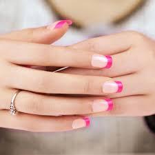 art false nails french manicure pink tip full cover medium tips uk