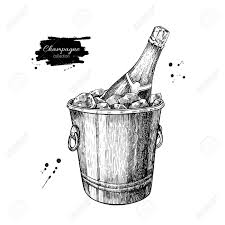champagne bottle outline champagne bottle in ice bucket hand drawn isolated vector