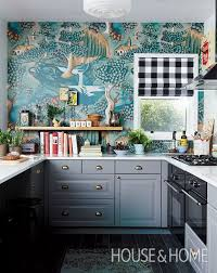 contemporary kitchen wallpaper ideas blue and white kitchen wallpaper morespoons eed73aa18d65