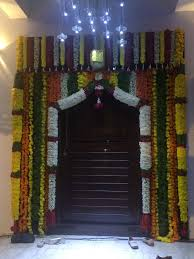 interesting front door flower decoration indian style images