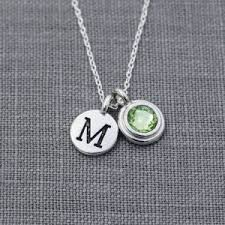 Personalized Initial Jewelry Peridot Necklaces Beadage