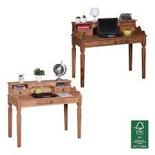 Schreibtisch 100 Cm Finebuy Schreibtisch Massivholz Sekretär 115 X 100 X 60 Cm Mit 3