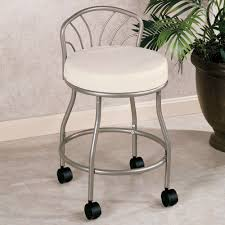 Vanity Chairs For Bathroom Flare Back Powder Coat Nickel Finish Vanity Chair With Casters