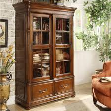 furniture home smal white bookshelf with sliding glass door in