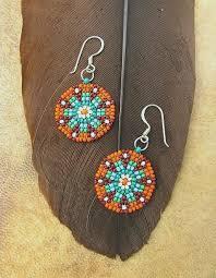 Handmade Seed Beaded Gold Plated Seed Beaded Earrings Mandala Design Delicate Turquoise Orange
