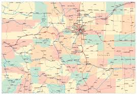 United States Map With Cities And States by Detailed Administrative Map Of Colorado State With Roads And