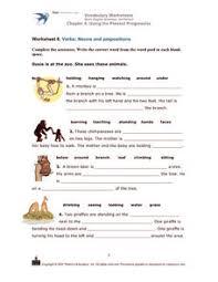 verbs nouns and prepositions kindergarten 2nd grade worksheet