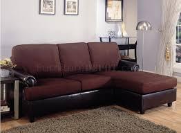 Small Sectional Sofa Dark Brown Microfiber Modern Small Sectional Sofa W Vinyl Base