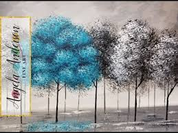 pop of color black and white trees part 2 beginner acrylic
