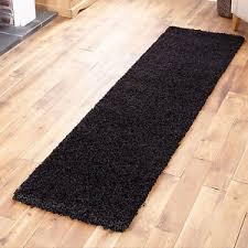black thick soft shaggy hallway runner 60x230cm rug thick soft