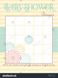 baby shower bingo game template soft stock vector 178671002