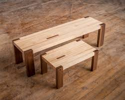 maple and walnut block bench step stool contemporary mission style