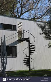 spiral staircase to the second floor patio at the gropius house