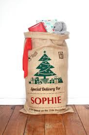 personalised screenprinted santa sack tree felt