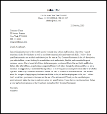 ideas collection sample cover letter kitchen staff in format
