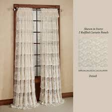 60 Inch Length Curtains Bridal Lace Layered Ruffled Curtain Panels