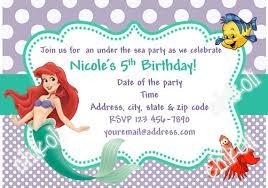little mermaid birthday invitations badbrya com