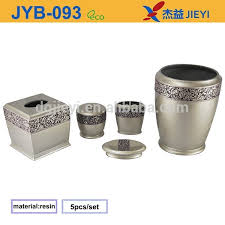 fancy design silver resin bathroom accessories sets with flower