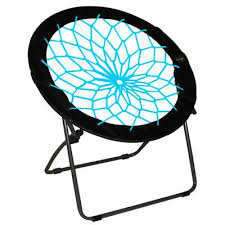 Blue Saucer Chair Comfortable Bunjo Bungee Chairs Trampoline Chair For Indoor