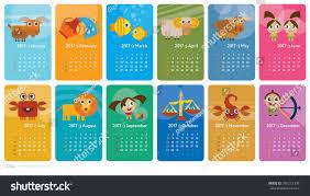 creative calendar 2017 horoscope signs zodiac stock vector
